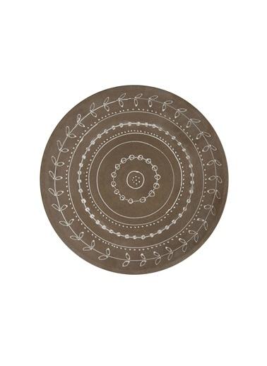 Warm Design El-Boyaması Terra Cotta Duvar Tabağı Kahve